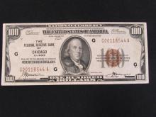 $100 US NOTE PAPER BILL 1929 CHICAGO BROWN SEAL