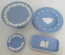4 WEDGWOOD JASPERWARE BLUE BISQUE COMPOTE DISH PLATE