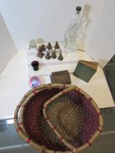 LOT BOTTLE EGG BOX BELLS GLASS VASE METAL