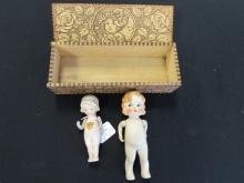 PORCELAIN DOLLS IN WOOD BOX BABY DARLING MB