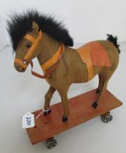 MOHAIR HORSE WOOD PULL TOY GERMAN STEIFF STYLE