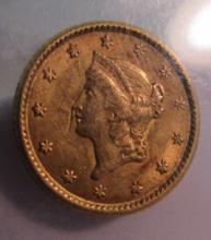 1853 US $1 DOLLAR GOLD COIN