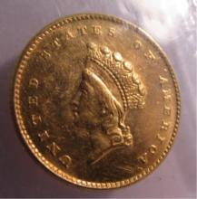 1854 US 1 DOLLAR GOLD COIN