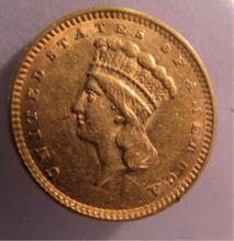 1856 US $1 DOLLAR GOLD COIN