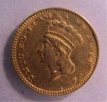 1857 US 1 DOLLAR GOLD COIN.
