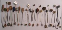 42 ANTIQUE PIN CUSHION & STICK STICK HAT PINS