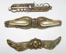 3 VICTORIAN EGYPTIAN REVIVAL PINS SCARAB BRASS