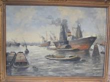 OIL ON CANVAS GERMAN BREMERHAVEN HARBOR SIGNED