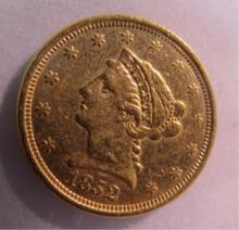 1852 US $2 1/2 DOLLAR GOLD LIBERTY COIN