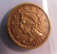 1879 S US GOLD $2 1/2 DOLLAR COIN