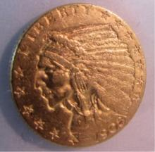 1908 $2 1/2  DOLLAR GOLD INDIAN COIN