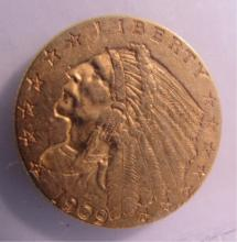 1909 GOLD $2 1/2 DOLLAR INDIAN COIN