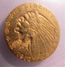 1919 US GOLD INDIAN $2 1/2 DOLLAR COIN