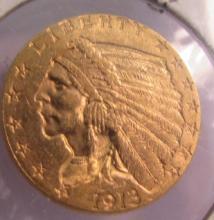 1913 US GOLD $2 1/2 DOLLAR INDIAN COIN