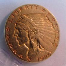 1925 D GOLD 2 1/2 DOLLAR INDIAN COIN