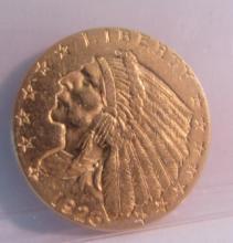 1926 GOLD INDIAN 2 1/2 DOLLAR COIN