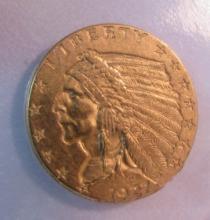 1927 GOLD INDIAN 2 1/2 DOLLAR COIN