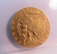 1929 GOLD $2 1/2 DOLLAR GOLD INDIAN COIN