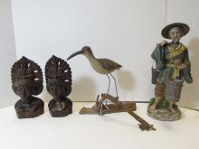 WOOD CARVED BUSTS PORCELAIN FIGURINE ASIAN BIRD