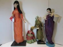 DOLLS VIETNAM HAITI JAPAN 4 SILK CLOTH