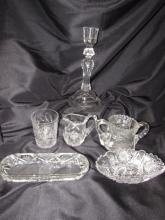 6PC CUT CRYSTAL ABP GLASS CANDLE HOLDER BOWL CREAM
