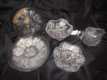8PC CUT CRYSTAL LOT PLATES PITCHER DISHES ABP