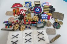 WWII LOT PATCHES BARS MEDALS BUTTONS US ARMY NAVY