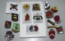 17 WWII REGIMENT BADGES MEDALS US ARMY LOT
