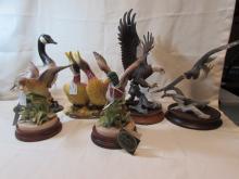 5 PORCELAIN BIRDS DUCK EAGLE GOOSE HAWK FIGURINES