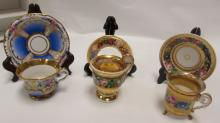 3 CUP & SAUCER SETS GOLD GILT SEVRES OR MEISSEN