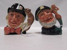 2 ROYAL DOULTON MUGS OLD SALT MAD HATTER TOBY