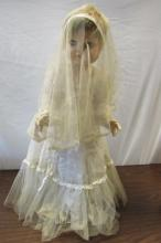27 INCH COMPOSITION DOLL 1930s BRIDE