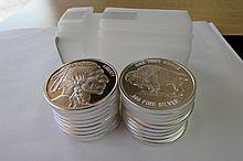 (20) PROOF SILVER BUFFALO (ROLL)1 OZ COIN.999 FINE
