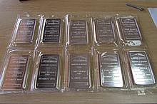 (10) PROOF SILVER 10 OZ TROY BAR NTR REFINERS