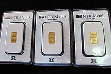 (3) GOLD INGOTS .9999 FINE 1/10 TROY OZ NTR BARS