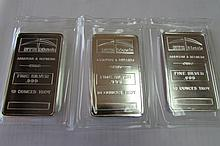(3) PROOF SILVER 10 OZ TROY BAR NTR REFINERS