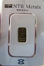 GOLD INGOT BAR .9999 FINE 1/10 TROY OZ NTR REFINER
