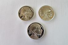 (3) PROOF SILVER BUFFALO 1 OZ COIN.999 FINE SILVER