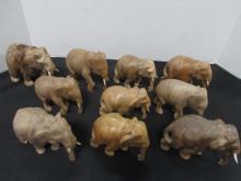 10 ELEPHANTS CARVED WOOD IVORY TUSKS