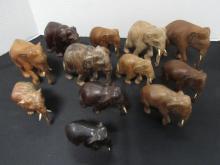 12 ELEPHANTS CARVED WOOD IVORY TUSKS