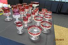 23 piece King's Crown Ruby Red Thumbprint Glasses