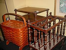 Lot of 3- Wood Book/Magazine Rack & Wicker Basket