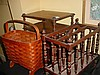 Lot of 3- Wood Book/Magazine Rack & Wicker Basket