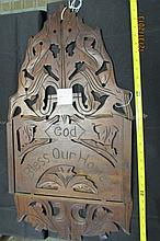 Folk Art Primitive Carved Wood Wall Hanging Rack