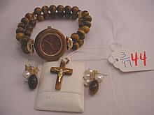 Lot Tigerseye Cross Pendant Watch 14kt Gold Jewelr