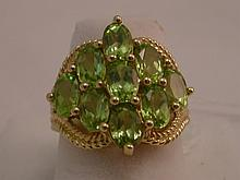 14kt Yellow Gold Green 3CTW Peridot Ring