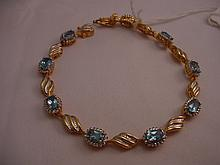 Sterling Vermeil 5CTW Topaz & Diamond Bracelet