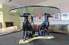 3 Hound Dog Glass Top Coffee Table Egyptian Style