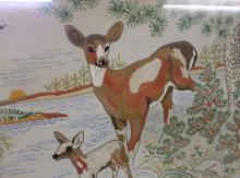 Hand Embroidered Deer with Fawn