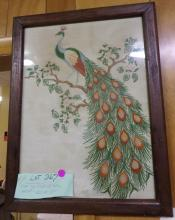 Vintage hand Embroidered Peacock in Frame